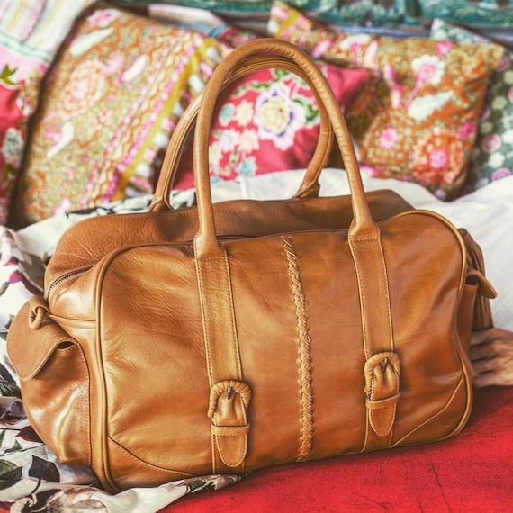 CARAVAN. Tan leather travel bag   womens overnight bag    f357e0101