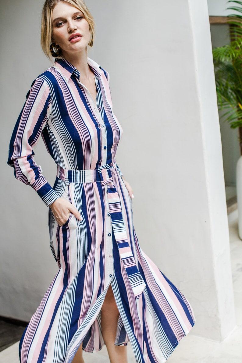 BRIDGET shirt dress  midi dress  long shirt dress  long sleeve dress  collar dress women  dresses for women  belt dress  midi dress