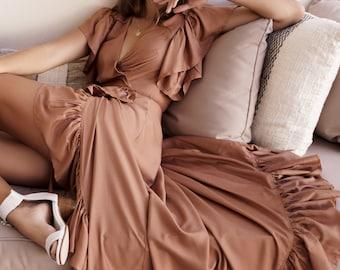CARMEN. Wrap maxi dress / boho dress / boho maxi dress / frilled / frilly dress / floral maxi dress / bohemian dress / maxi dress boho