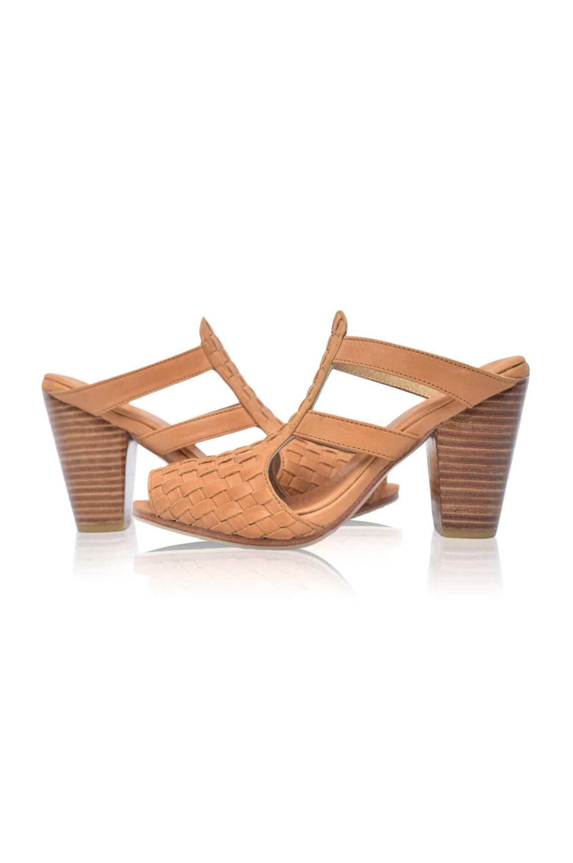 Venta. Sz. 7.5 & 8. Amane. Zapatos de tacón de bloque ? zapatos de tacón alto zapatos descalzos zapatos de boda boho sandalias de cuero tacones altos Mulas