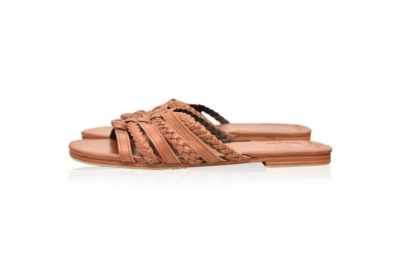 SALE FAIRY KISS leather slides size 11  slide sandals women  leather sandals size 11  strappy sandals  leather slides shoes 11 Sz