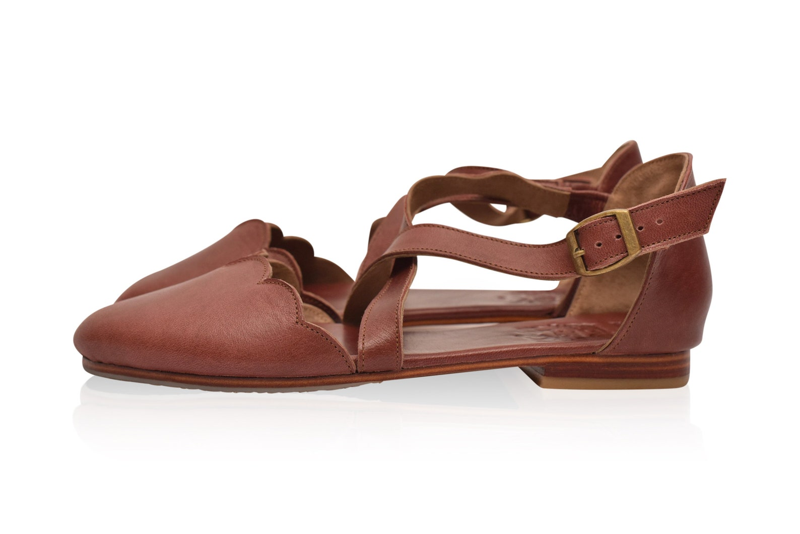 mangrove. brown leather flats / brown leather shoes / ballet flats / flat leather shoes / flat shoes. sizes 35-43. available in