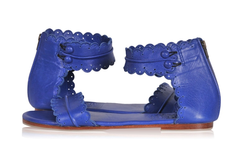 Leather sandals   women shoes   leather shoes  flat shoes  blue leather sizes 35-43 Available in different leather colors. MIDSUMMER