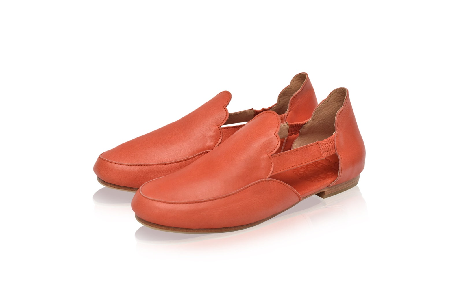 amalfi. red leather flats / red leather ballet flats / red leather shoes handmade / boho leather sandals / red leather sandals .