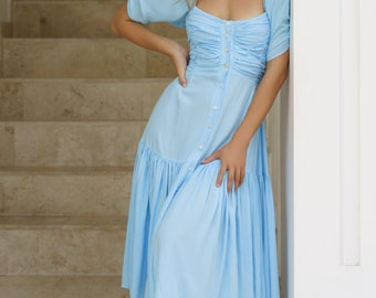LILIT. Blue midi dress | cotton midi dress | bohemian gypsy dress | sexy bohemian dress