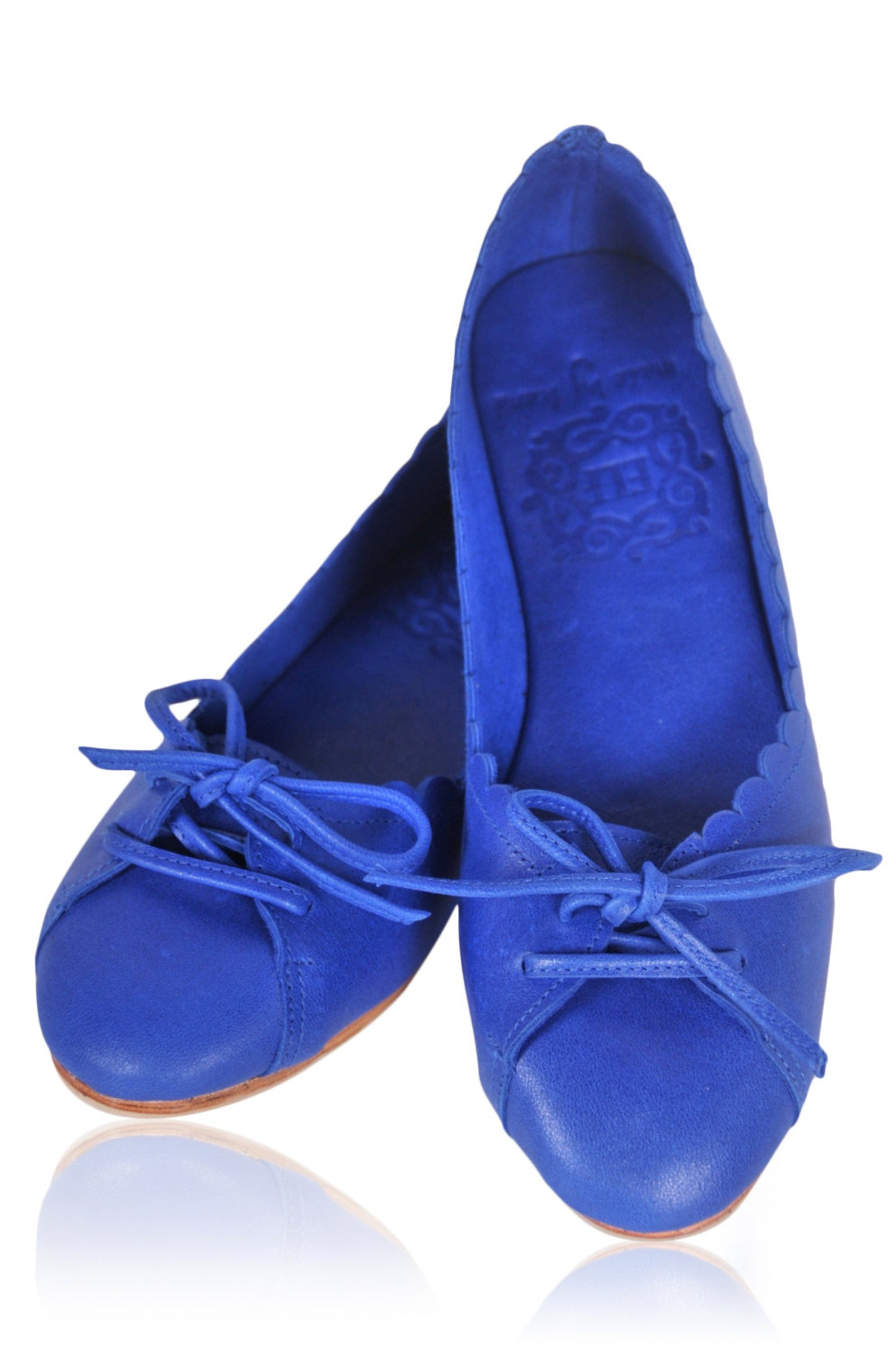 endless love. blue shoes / womens shoes / leather ballet flats / pointy flats / royal blue leather. available in different leath