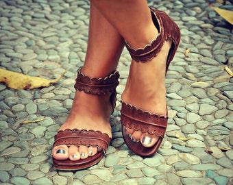 MIDSUMMER. leather flat sandals | boho wedding sandals | barefoot shoes |  boho leather sandals | Brown leather sandals