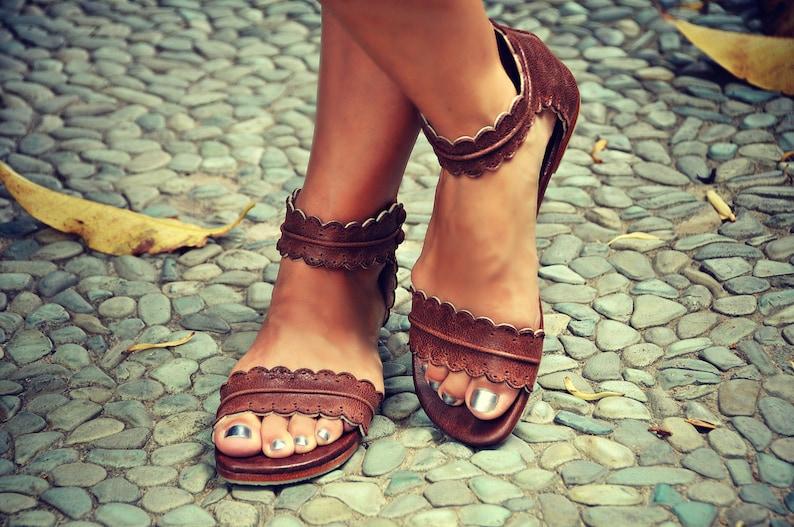 MIDSUMMER. leather flat sandals  boho wedding sandals  Vintage Brown