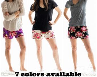 Floral Pajama Shorts,Bridesmaid Gift, Floral Pajamas,Bridesmaid Pajamas,Bridesmaid Robe Shower Gift,Bridesmaid Shorts,Wedding Party,Bride
