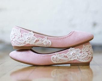 Blush Wedding Shoes, Wedding Flats, Blush Flats, Bridal Flats, Bridal Shoes, Bridesmaid Gift, Ballet Flats,Low Wedding Shoes with Ivory Lace