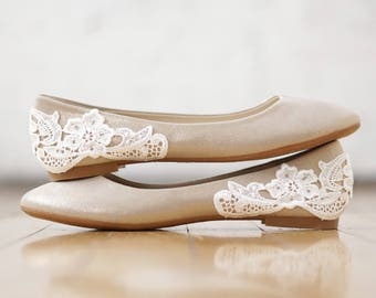 Champagne Wedding Flats,Wedding Shoes,Ballet Flats,Reception Shoes,Bridesmaid,Bridal Shoes,Gold Bridal Flats,Shimmer Shoes with Ivory Lace