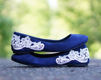 Navy Blue Bridal Ballet Flats,Wedding Shoes,Low Wedding Shoes,Navy Wedding Flats,Navy Flats,Bridal Shoes,Gift,Blue Flats with Ivory Lace