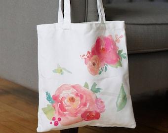 Floral Tote,Bridesmaid Gift,Bridal Tote,Bridesmaid Proposal,Library Bag,Canvas Tote,Wedding Favor,Gift Bag,Bridal Party,Beach,Shower Gift