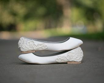 44bb35c2c9c7 Wedding Shoes - Ivory Wedding Flats, Wedding Ballet Flats, Satin Flats,  Wedding Shoe, Ivory Flats, Low Wedding Bridal Shoes with Ivory Lace.