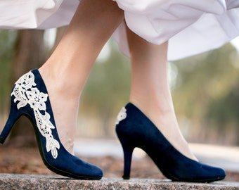 Blue wedding shoes etsy navy blue wedding shoes bridal shoes low wedding heels blue pumps low heels bridal heelssomething bluenavy blue heels with ivory lace junglespirit Image collections