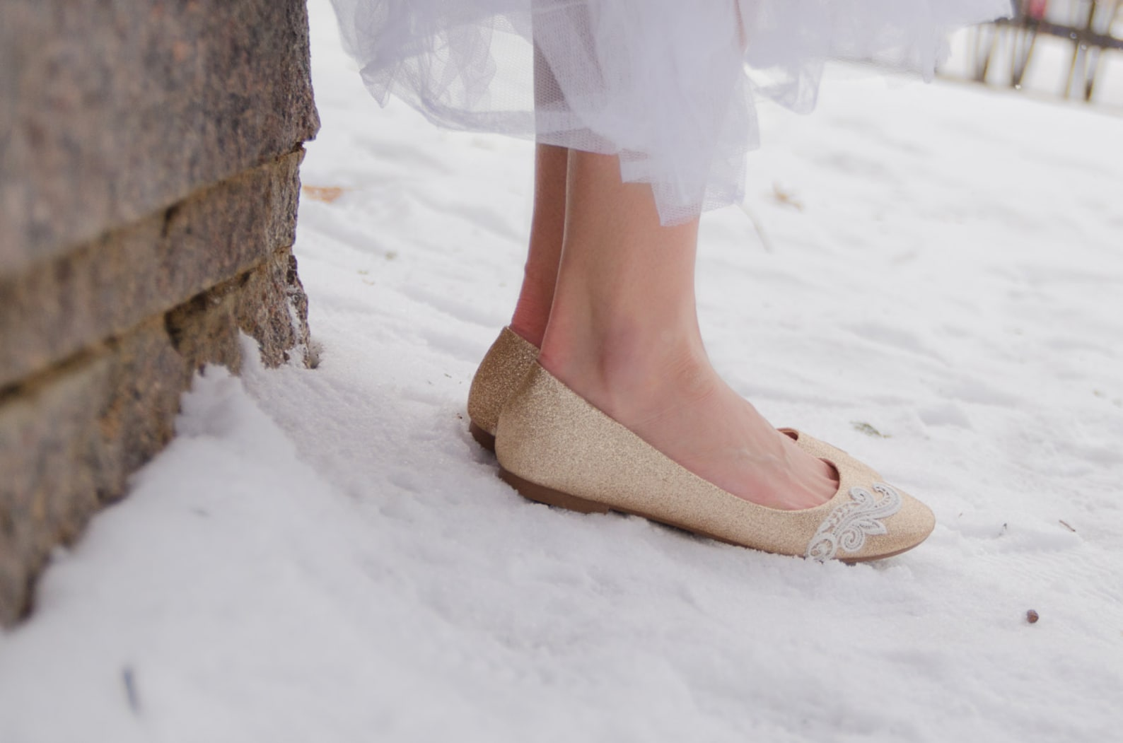 765496b1ecb Gold Wedding Flats