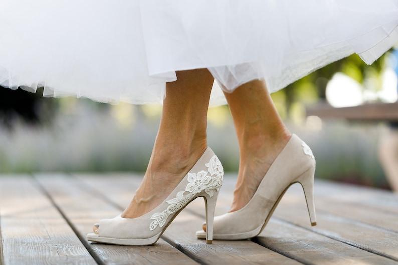 Nude Wedding ShoesPeep Toe HeelsBridal ShoesWedding  c4c64ce1f5