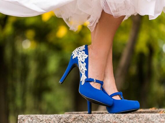 Scarpe Sposa Blu.Scarpe Da Sposa Scarpe Sposa Tacchi Di Blu Blu Regalo Etsy