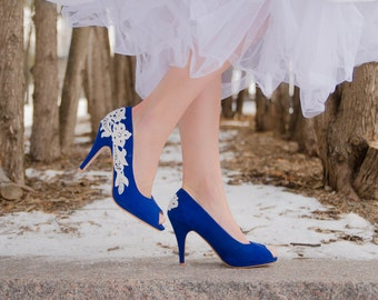 Blue wedding shoes etsy saleding shoesblue junglespirit Image collections