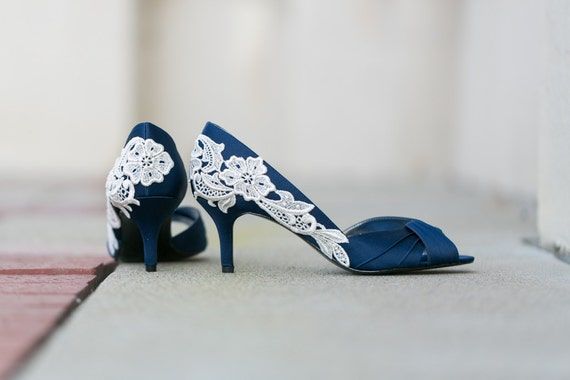 Wedding Shoes Navy Blue Wedding Heels Bridal Shoes Navy  1c556fd3ff