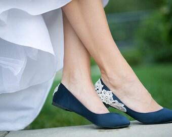 Wedding Shoes - Navy Blue Bridal Ballet Flats, Low Wedding Shoes,Navy Wedding Flats,Navy Satin Flats, Navy Flats,Blue Flats with Ivory Lace.