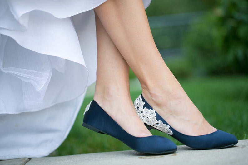 b05bb3ac6d33 Wedding Shoes Navy Blue Bridal Ballet Flats Low Wedding