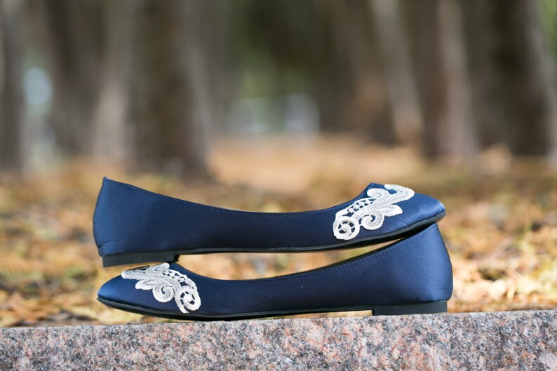 2b2176ced91 Wedding FlatsNavy Blue Bridal Ballet FlatsWedding ShoeNavy