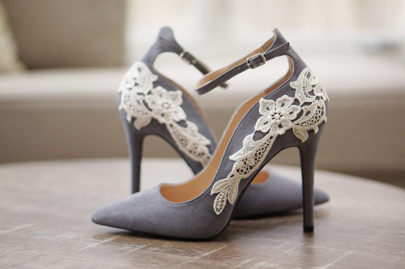 5aa1f1aa902 Grey Bridal ShoesBridal HeelsWedding ShoesHigh