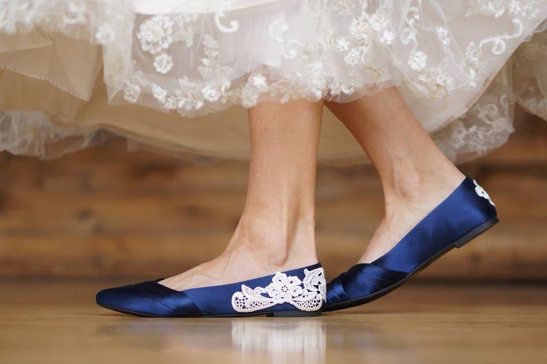 b96286871b8 Wedding ShoesNavy Blue Bridal Ballet FlatsLow Wedding