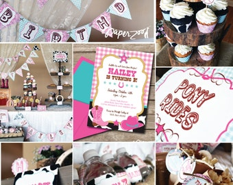 INSTANT DOWNLOAD,  Cowprint Cowgirl Western Printable Party Package, You Edit Yourself in Adobe Reader