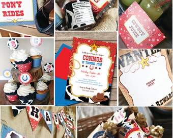INSTANT DOWNLOAD, Cowboy Western Printable Party Package, You Edit Yourself in Adobe Reader