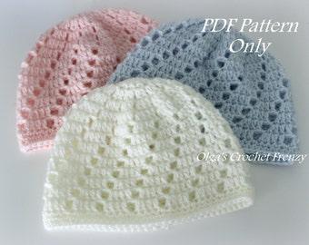 8e76e2be0e0 Newborn Baby Beanie Hat Crochet Pattern Size 0-3 Months Boys