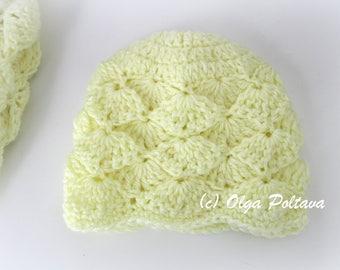 Marshmallow Newborn Baby Hat Crochet Pattern, Baby Beanie Size 0-3 Months, Easy Crochet Pattern