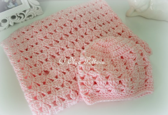 Pink Clusters Baby Blanket And Hat Crochet Patterns Crochet Etsy