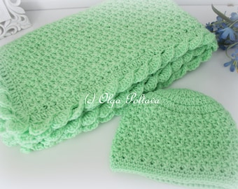 Crochet Baby Blanket and Hat, Star Stitch Crochet Baby Set, Crochet Patterns, Intastant PDF Download