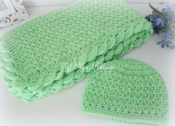 Crochet Baby Blanket And Hat Star Stitch Crochet Baby Set Etsy