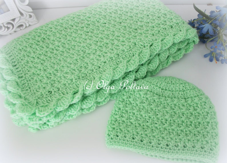 Crochet Baby Blanket and Hat Star Stitch Crochet Baby Set  ffa3a4171de