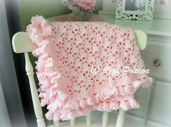 Lace Cupcakes Baby Blanket With Ruffled Trim Crochet Pattern Etsy Extraordinary Lacy Baby Blanket Crochet Pattern