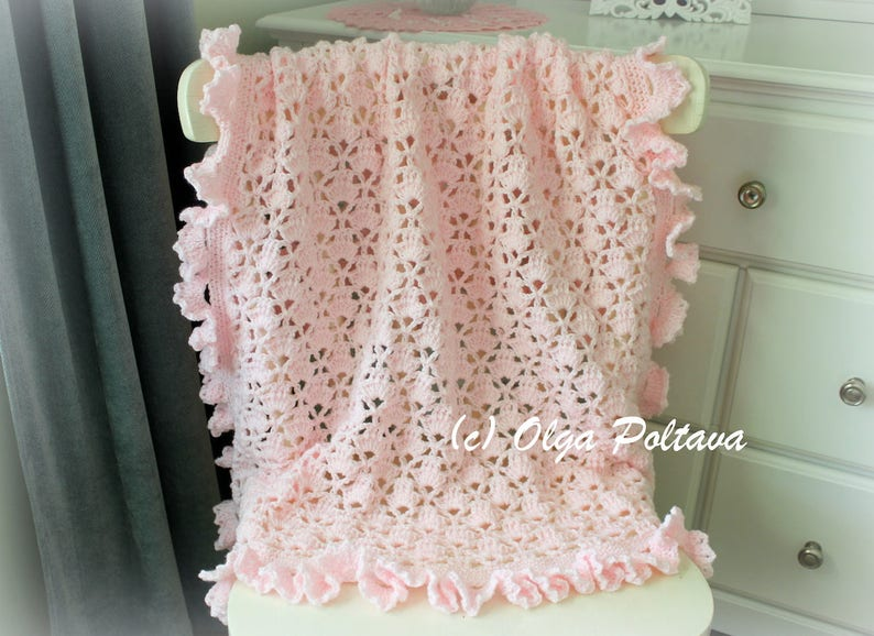 Lace Cupcakes Baby Blanket With Ruffled Trim Crochet Pattern image 0