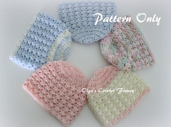 Preemie Baby Beanie Hat Crochet Pattern Size Preemie For Etsy