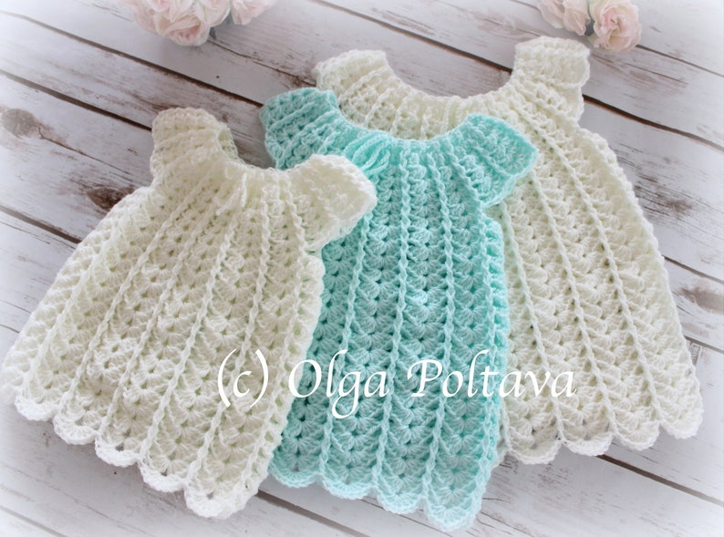 Shells Baby Dress Crochet Pattern Sizes 0 3 3 6 6 12 Etsy