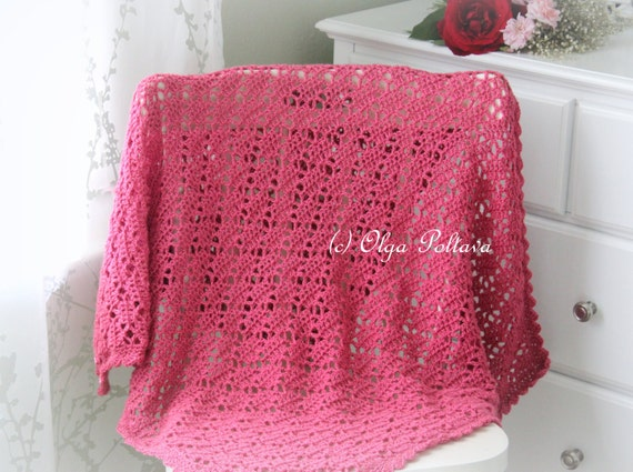 Bright Pink Lace Crochet Baby Blanket Pattern Baby Afghan Etsy
