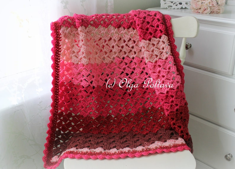 Cherry Chip Baby Afghan Crochet Pattern Baby Blanket image 0