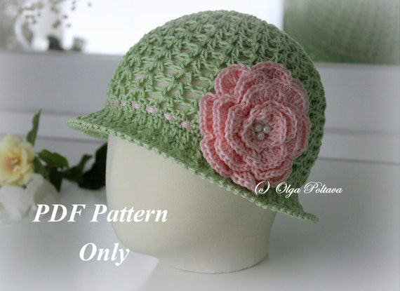 Big Rose Toddler Cloche Summer Hat Crochet Pattern Size 1 2 Etsy