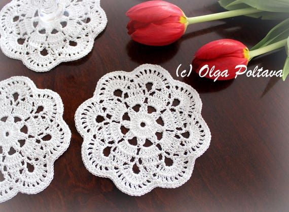 Doily Coaster Crochet Pattern Small Doily Lace Coaster Easy Etsy