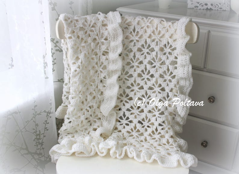 2584e8d25b49 White Spider Lace Baby Blanket With Ruffled Trim Crochet