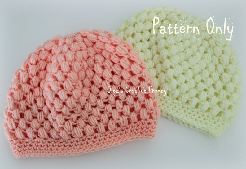 Puff Stitch Baby Beanie Crochet Pattern Size 3-6 Months Easy  27045c40295