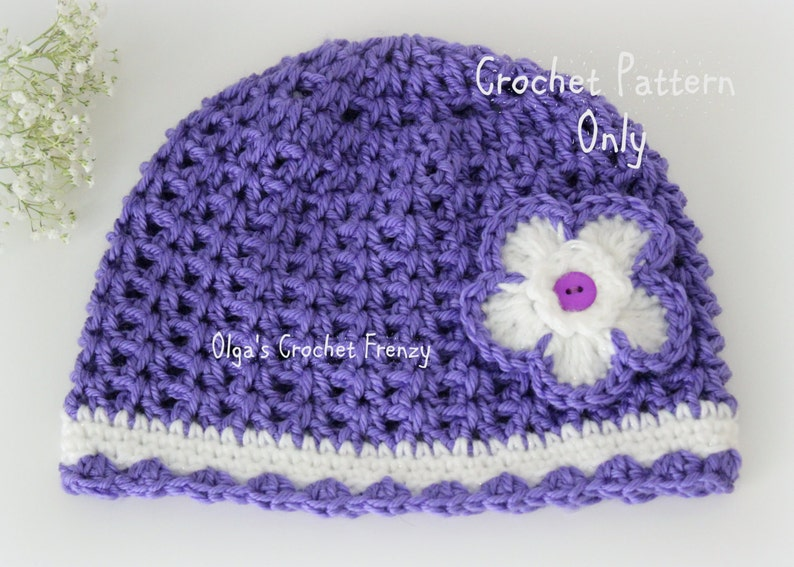 V-Stitch Crochet Girls Hat Pattern Size 3-5 Years Old Easy  ae9de13672a
