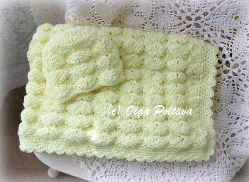 fed819bb5 Marshmallow Baby Blanket and Hat Crochet Pattern Newborn Baby