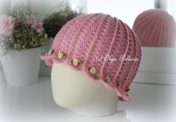 Crochet Summer Hat Pattern Shells And Roses Cloche Hat For Etsy